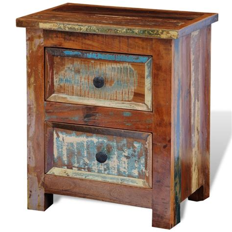 nachtschrank vintage vintage reclaimed solid wood 2 drawer bedside table buy