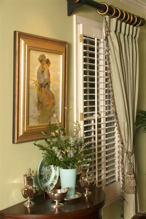 drapes with plantation shutters plantation shutters with curtains dining room traditional
