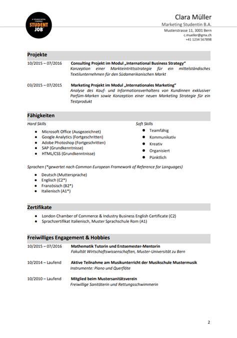 Standard Lebenslauf Vorlage by Lebenslauf Tipps Studentjob Ch