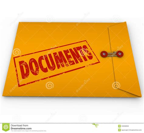Doc Records Documents Sealed Yellow Envelope Important Devliery Records Stock Images Image 34058994