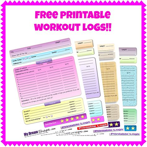 printable daily workout schedule free printable fitness logs my dream shape
