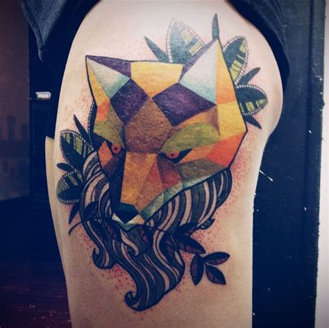 low poly tattoo abstract fox by christopher malice gaslight