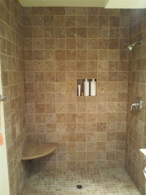 Travertine Bathroom Tile Ideas by Tumbled Noce Travertine Shower Bathroom Tile