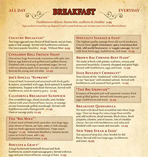 brown bag cafes menu breakfast