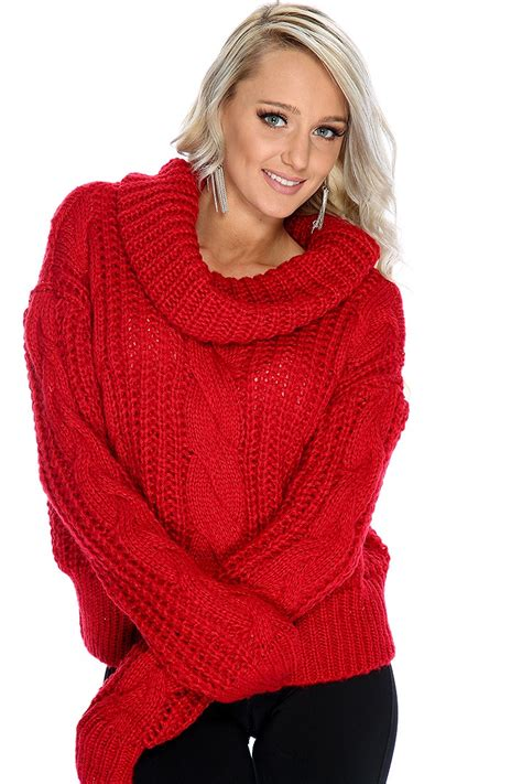 Trend Cowl Necks Get Their Back by Sleeve Cable Knit Cowl Neck Oversized Sweater