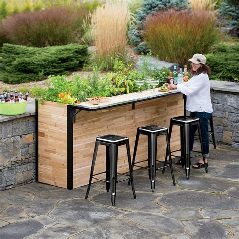 outdoor backyard bars plant a bar wooden outdoor bar and planter the green head