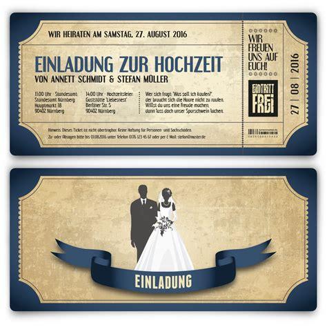 Einladung Hochzeit Blau by Einladungskarten Zur Hochzeit Als Vintage Ticket Bestellen