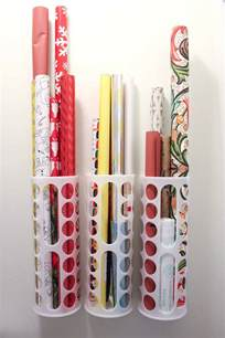 Container Store Gift Wrap Organizer - diy vertical wrapping paper storage idea ikea hack