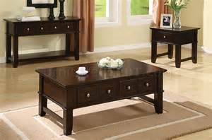 Coffee And End Table Set Espresso Finish Coffee Console End Table Set W Drawers