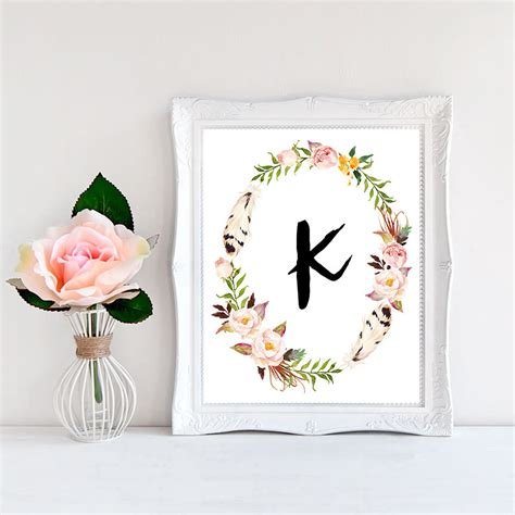 free printable wall art letters printable monogram letter k wall art boho bedroom decor boho