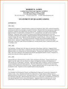 Statement Of Qualifications Template by Statement Of Qualifications Template Sales Report Template