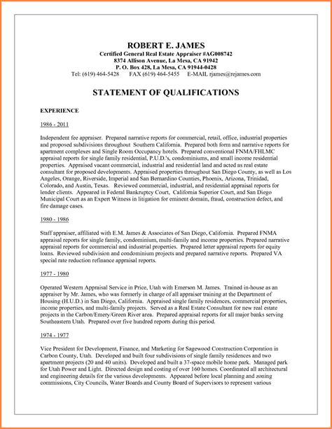 statement of qualifications template sales report template
