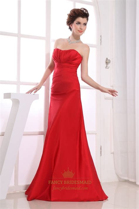Red Strapless Bridesmaid Dresses Long Empire Waist Bridesmaid Dresses | red strapless bridesmaid dresses long empire waist