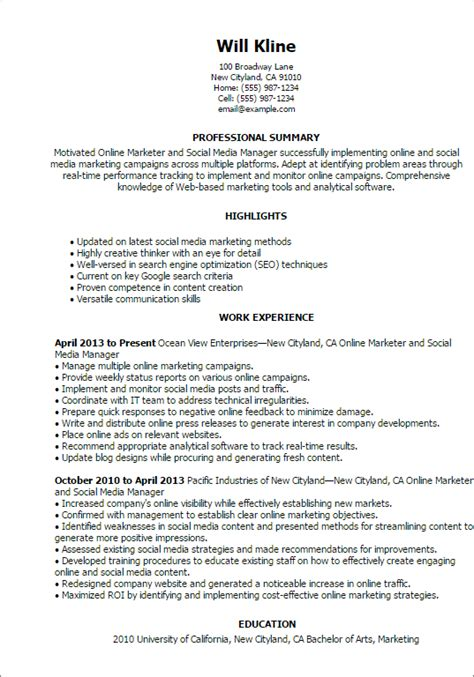 media resume template social media resume template professional marketer