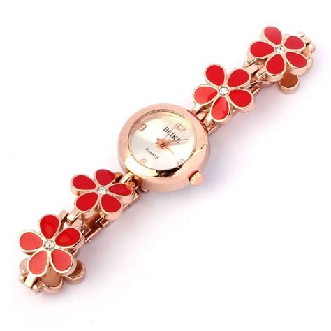 Gelang Bunga Mawar by Fashion Aster Bunga Mawar Emas Gelang Jam Tangan Wanita