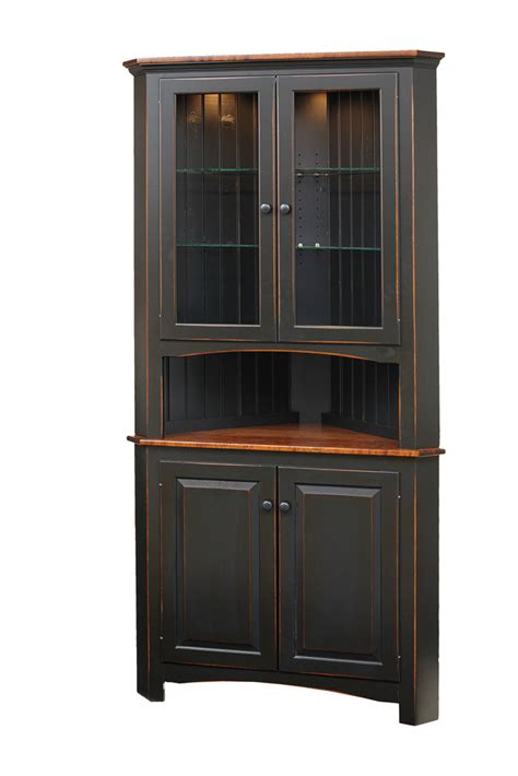 Small Dining Room Hutch by Shaker Corner Cabinet Peaceful Valley Amish Furniture