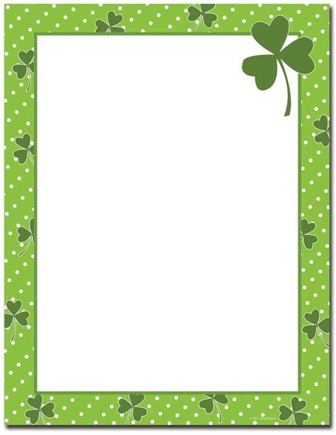St Patrick S Day Stationery Four Leaf Clover Letterhead Leaf Border Template