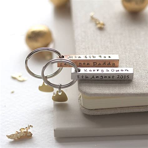 personalised square bar keyring by morgan french