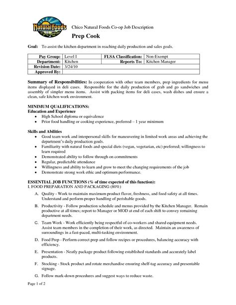 Cook Resume Skills by Prep Cook Description For Resume Sidemcicek
