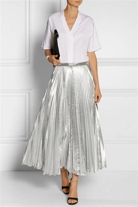 Metallic Pleated Midi Skirt lyst dkny pleated metallic taffeta midi skirt in metallic