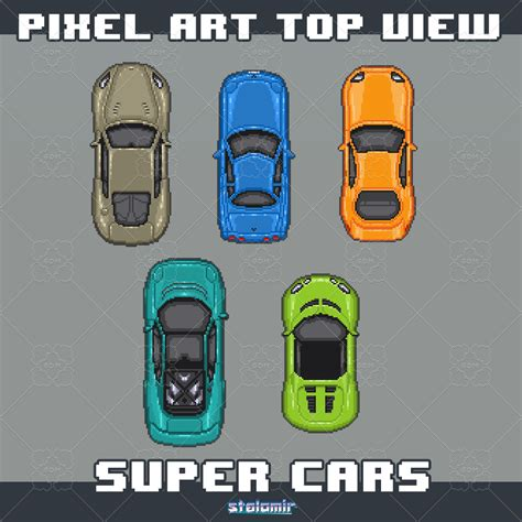 pixel car top pixel art top view super cars gamedev market