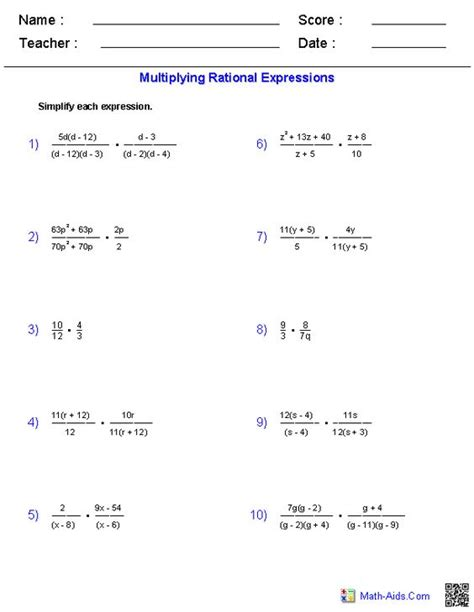 Rational Expressions Worksheet Answers by Multiplying And Dividing Rational Expressions Algebra 2