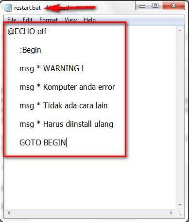 10 cara membuat virus komputer menggunakan text editor cara membuat pesan iseng di komputer orang lain andredwi09