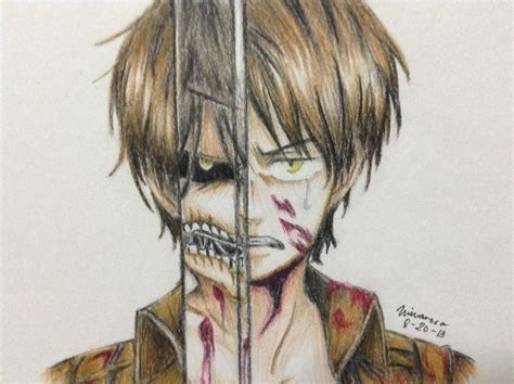 Eren Jaeger Colored Drawing By Frownedclown On Deviantart Colored Drawings