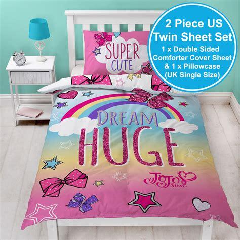 jojo siwa bows rainbow single duvet cover set kids bedding  designs    ebay
