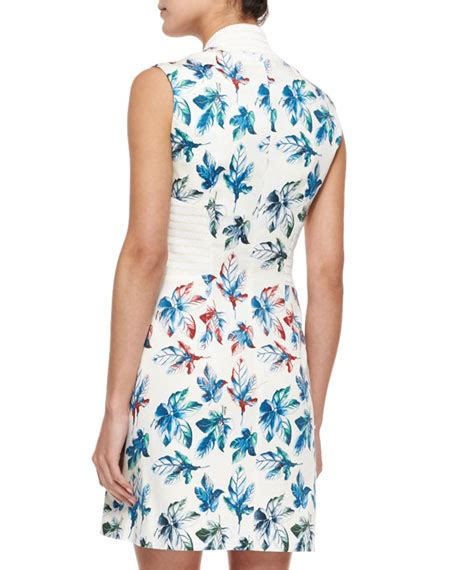 Leaf Dress White risto leaf print asymmetric zip dress white