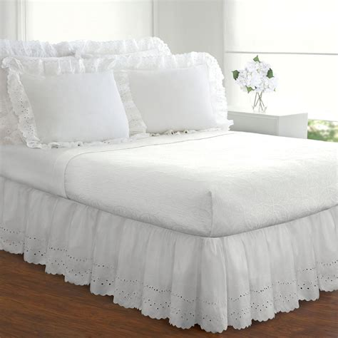 white bed skirts white bed skirt full extra long 18 inch drop dust ruffle
