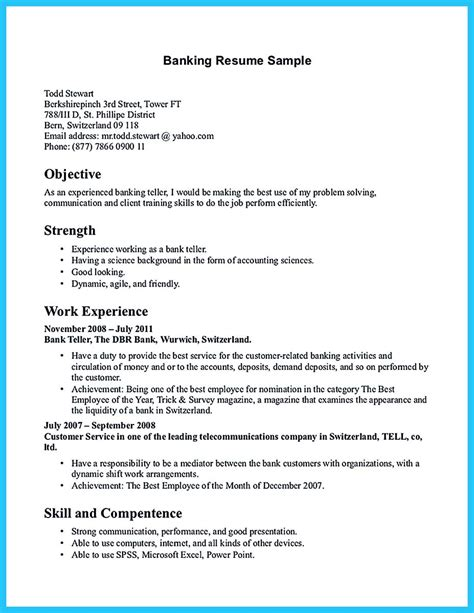 bank teller cover letter exle learning to write from a concise bank teller resume sle