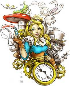 steampunk alice in wonderland for a tattoo com client