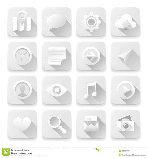 app design elements vector white flat icons web design elements royalty free stock