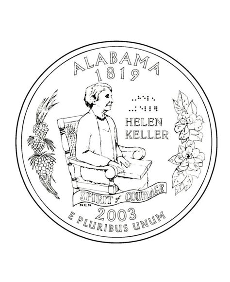 Coloring Page Quarter by Alabama State Quarter Coloring Page Coloring Pages