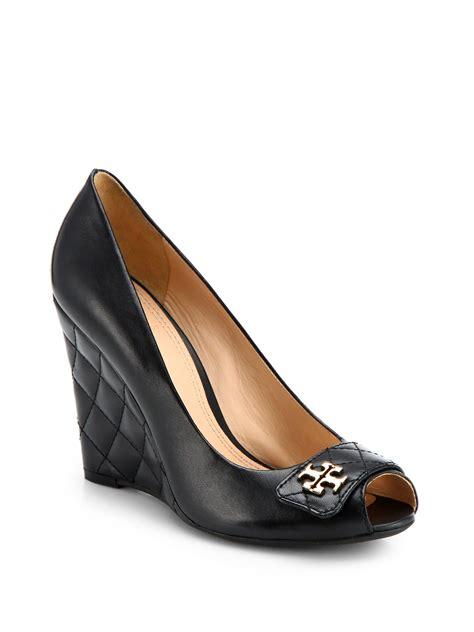 Wedge Pumps burch leila leather peeptoe wedge pumps in black lyst