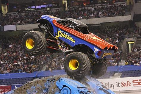 superman monster truck videos at monster jam a huge superman truck can be seen crushing cars