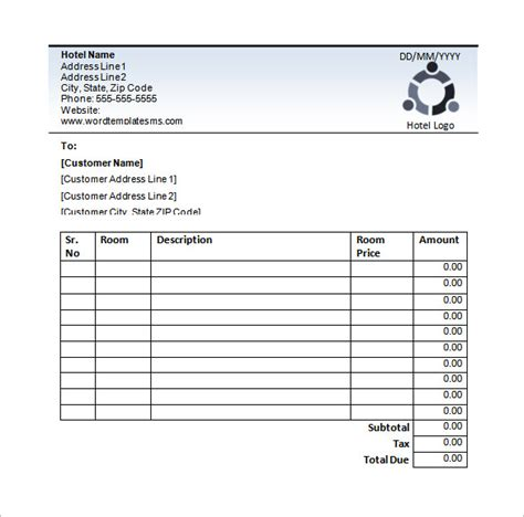 Accommodation Receipt Template by Hotel Invoice Template Pdf Hardhost Info