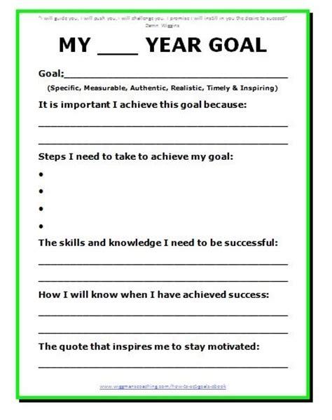 templates for goal setting goal setting template peerpex