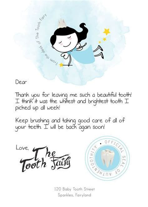letter from the tooth template printable pdf tooth letter kid stuff