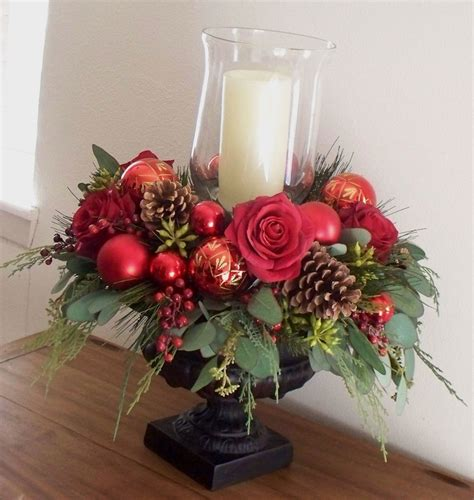 christmas centerpiece red silk in black urn