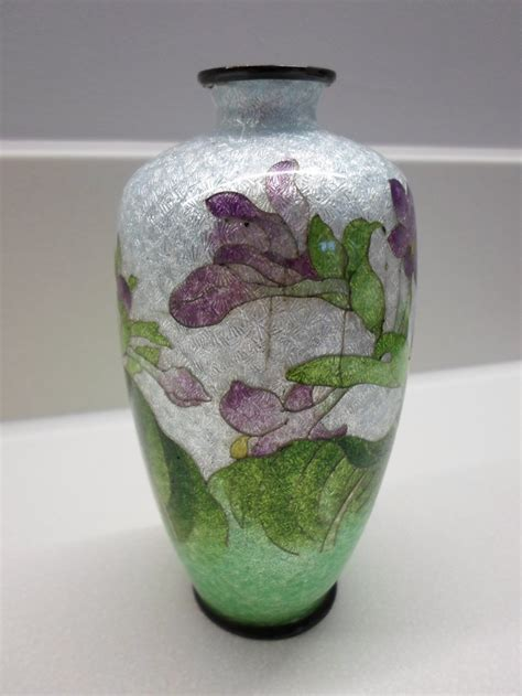 Japanese Vase Value by Japanese Ginbari Cloisonne Vase Signed 263536