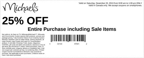 Michaels Canada Gift Card - michaels arts crafts store canada coupons 25 off entire purchase including sale