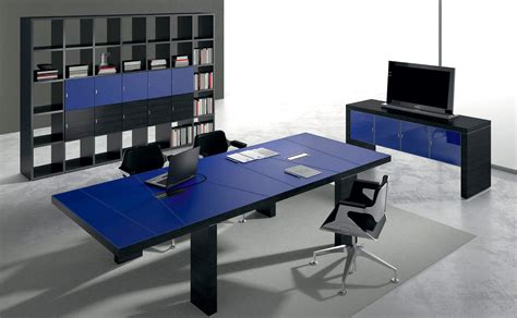 blue desk black contemporary modern blue leather desk ambience dor 233