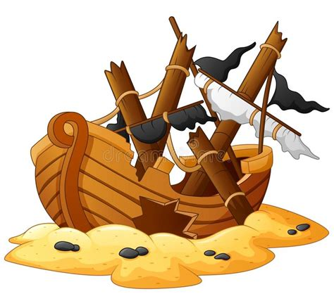 illustration of shipwreck stock vector illustration of - Broken Boat Cartoon