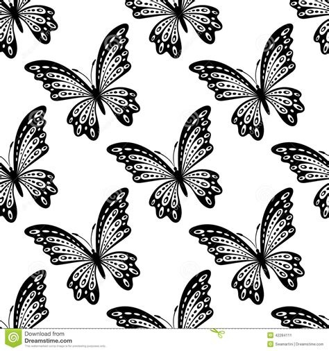 black and white butterfly pattern black and white seamless pattern of butterflies stock