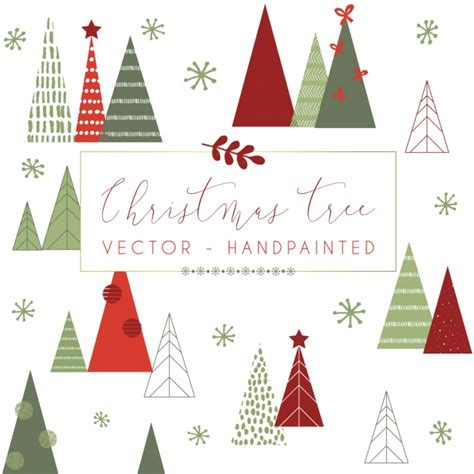 christmas tree pattern vector hand painted pattern design vector free download