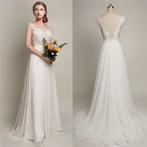 brautkleider chiffon white cheap wedding dress 2018 lace chiffon open back