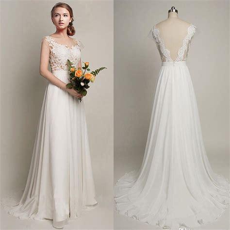 brautkleider oben spitze white cheap wedding dress 2018 lace chiffon open back