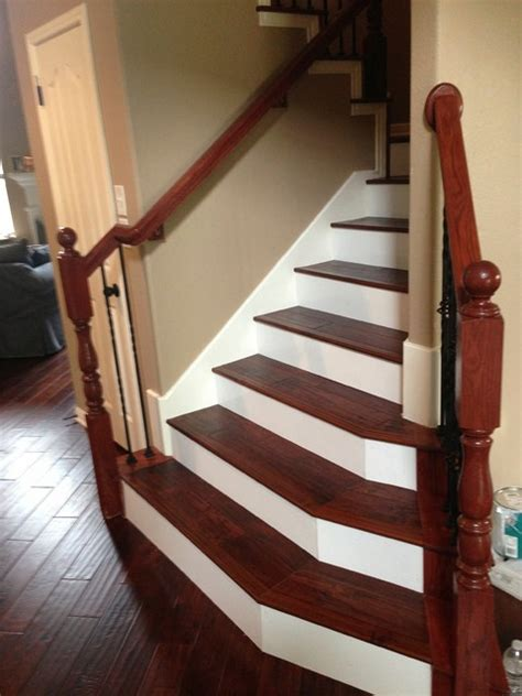 kentwood acacia wood stairs  painted risers